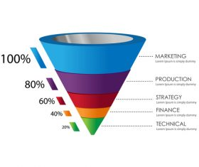 Funnel sales infographic template vector 05