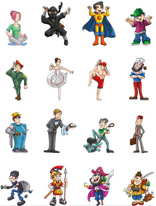 Funny Cartoon People vector material