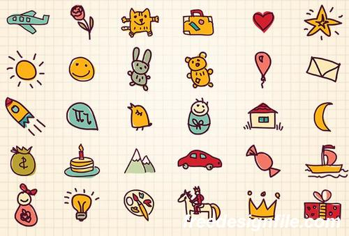 Funny Doodles Hand Drawn PSD Icon