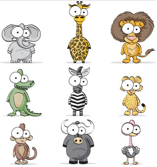 Funny Exotic Animals Vector vector