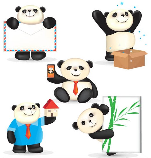 Funny Pandas free vector graphic