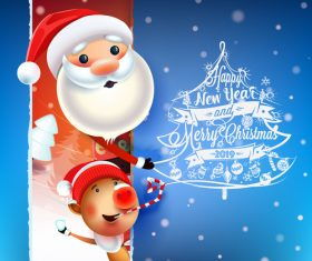 Funny santa with 2019 new year card vectors