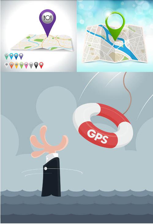 GPS Navigation Set vector set