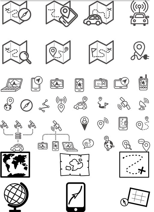 GPS and Routing Icons vector