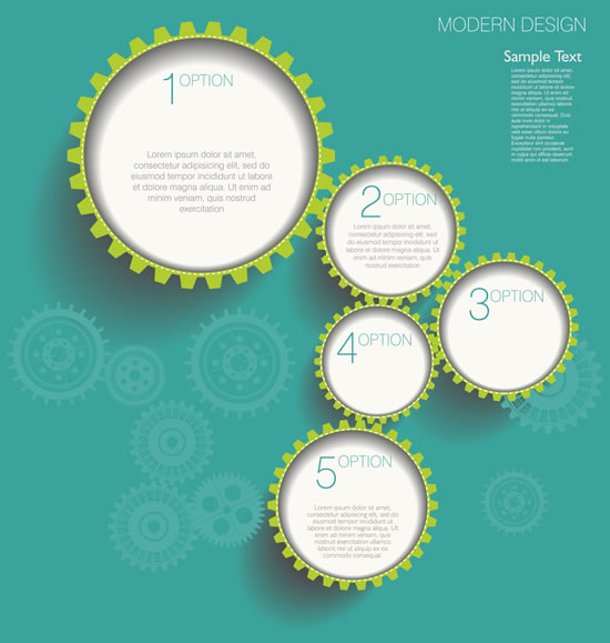 Gearwheel and number background 3 shiny vector
