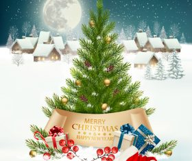 Getting card with christmas tree and winter landscare vector