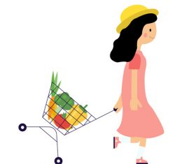 Girl pulling shopping cart vector