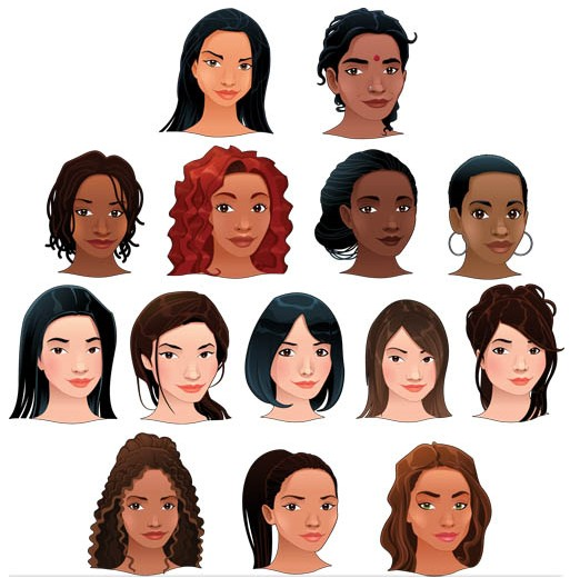 Girls Faces 2 vector set