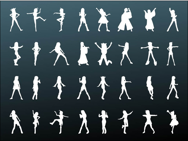 Girls Silhouettes set vector
