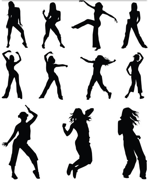 Girls Silhouettes art vectors graphic