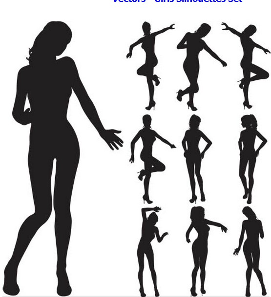 Girls Silhouettes free vector set