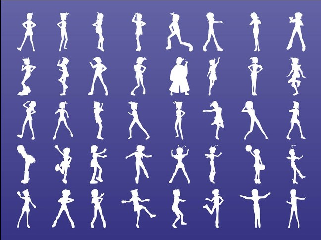 Girls Silhouettes free vectors