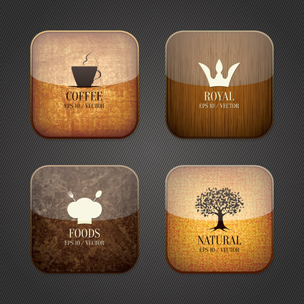 Glass texture coffee icons set vector