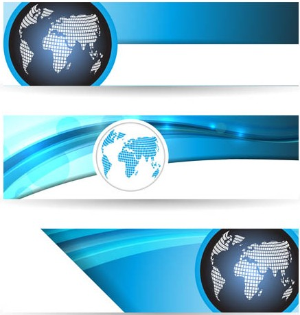 Globes Banners graphic vector