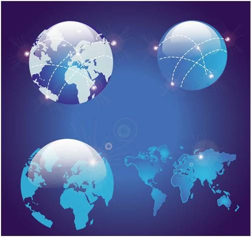 Globes Bright Symbols vector