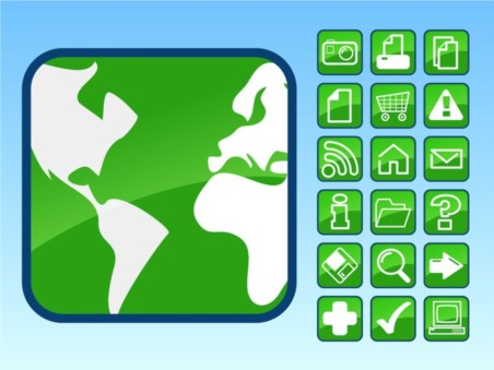 Glossy Icons Vector Footage vector material