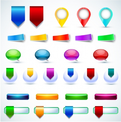 Glossy button and icon set Illustration vector