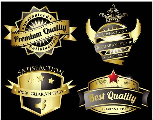 Gold Quality Labels vectors graphic