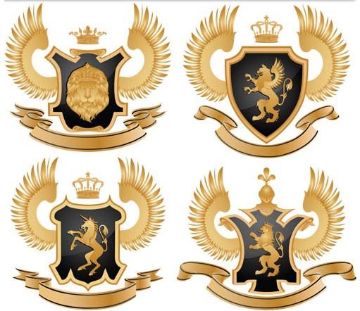 Gold Royal Emblems vector