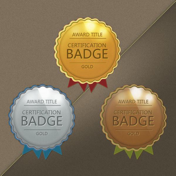 Gold award badge vectors graphics