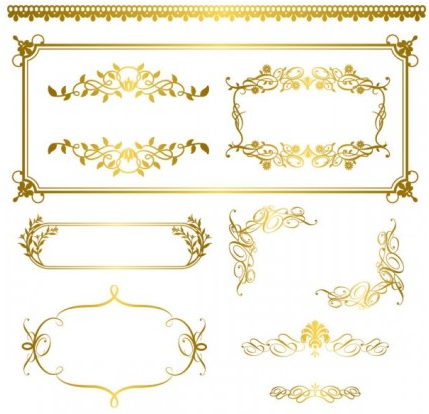 Gold lace pattern 05 set vector