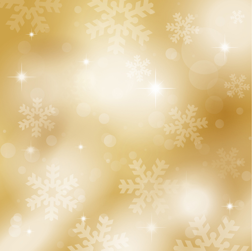 Gold snowflakes and stars background vectors material