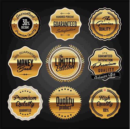 Golden Luxury Labels Set vector