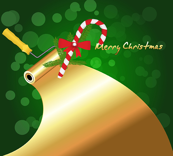 Golden Paint Roller with Candy Cane vector