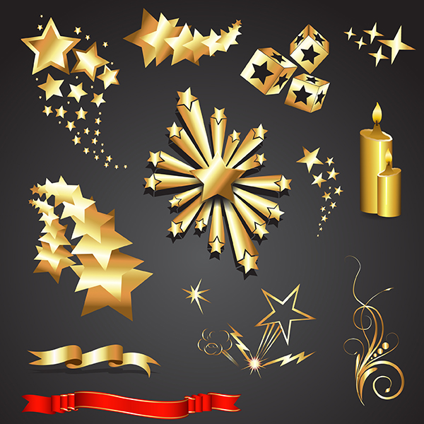 Golden Stars and Elements vector