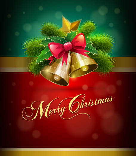 Golden bell christmas cards 1 design vector