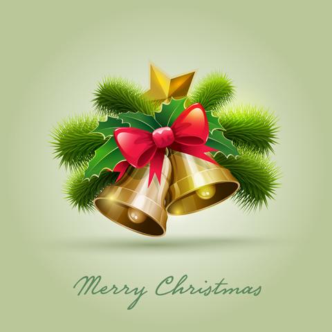 Golden bell christmas cards 2 design vector