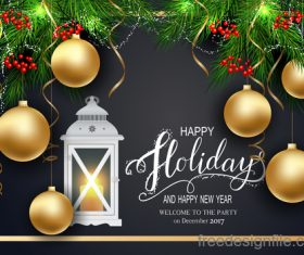 Golden christmas ball with new year holiday background vector