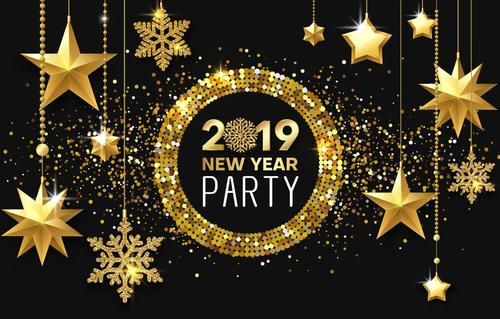 Golden decor with 2019 new year party background vector