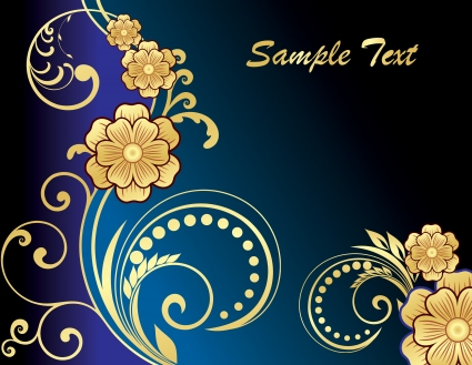 Golden floral vectors material