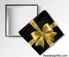 Golden ribbon bows with black gift boxs vector illustration