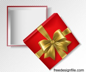 Golden ribbon bows with red gift boxs vector illustration