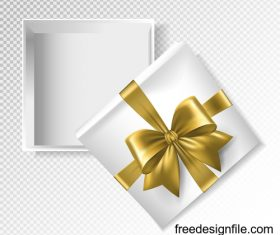 Golden ribbon bows with white gift boxs vector illustration
