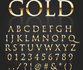Golden shining alphabet font vector 01