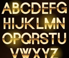 Golden shining alphabet font vector 02