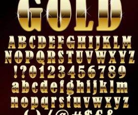 Golden shining alphabet font vector 03
