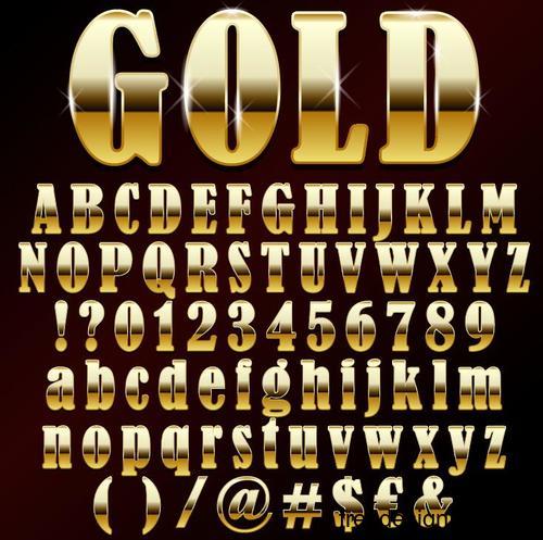Golden shining alphabet font vector 03