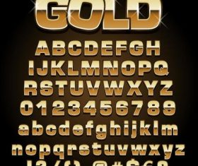 Golden shining alphabet font vector 04