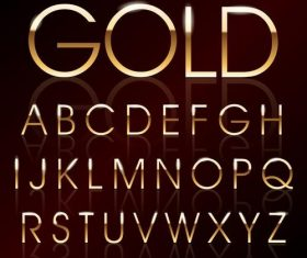 Golden shining alphabet font vector 05