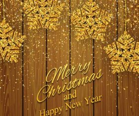 Golden snow decor with christmas and new year wood background vector