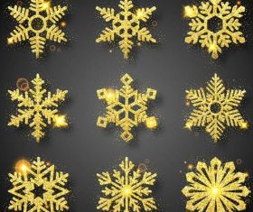 Golden snowflake christmas festival illustration vector 03
