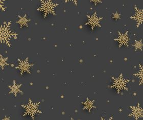 Golden snowflake with brown backgrounds vector 02