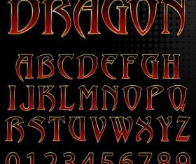 Gothic alphabet with number vector