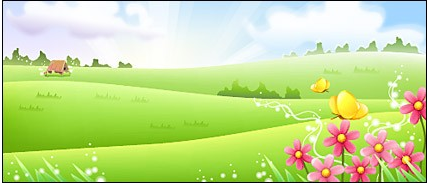 Grass with flower and butterfly vector