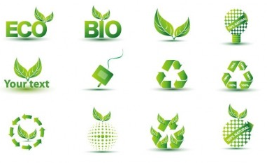 Green Eco Icon Set vector graphic