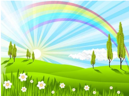 Green Grass Rainbow Background vector material